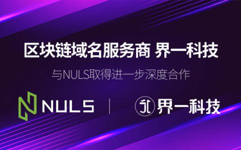 区块链域名服务商界一科技,与NULS取得进一步深度合作,支持NULS购买域名