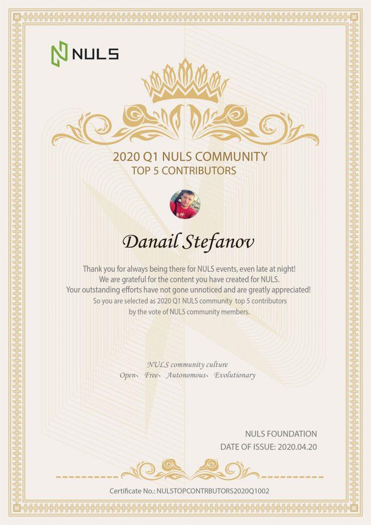 NULS社区2020年第一季度贡献人物公布