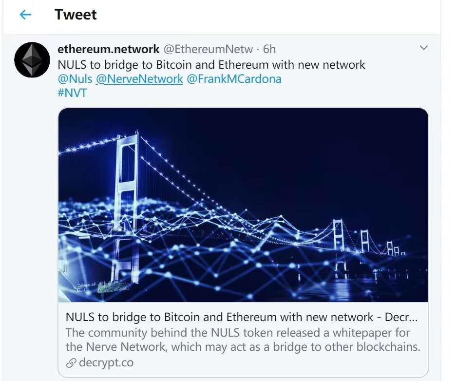 AMA:作为 BTC、ETH的跨链闪电网络,NerveNetwork如何玩转Defi-NULS一个可定制的区块链基础设施!