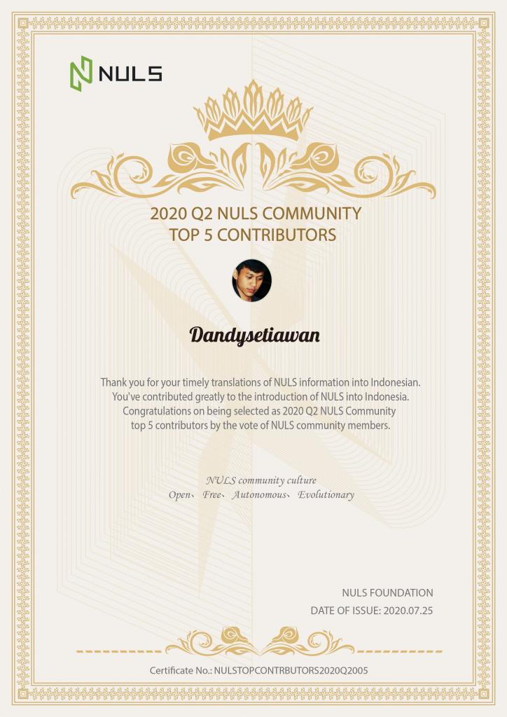 NULS社区2020年第二季度贡献人物评选结果公布