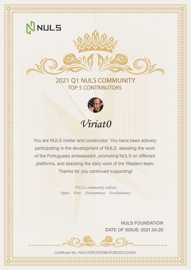 NULS社区2021年第一季度贡献人物评选结果公布