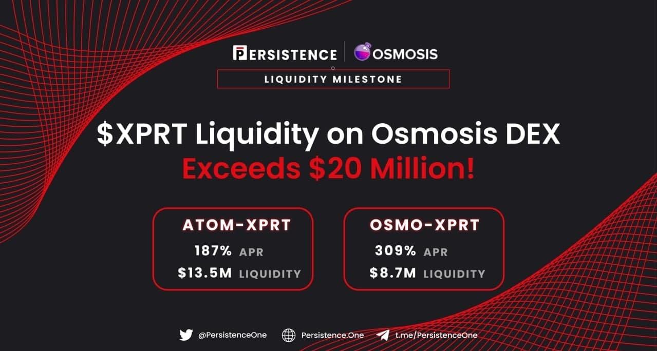 Persistence的 XPRT在 Osmosis DEX 上的流动性超过了2000万美金
